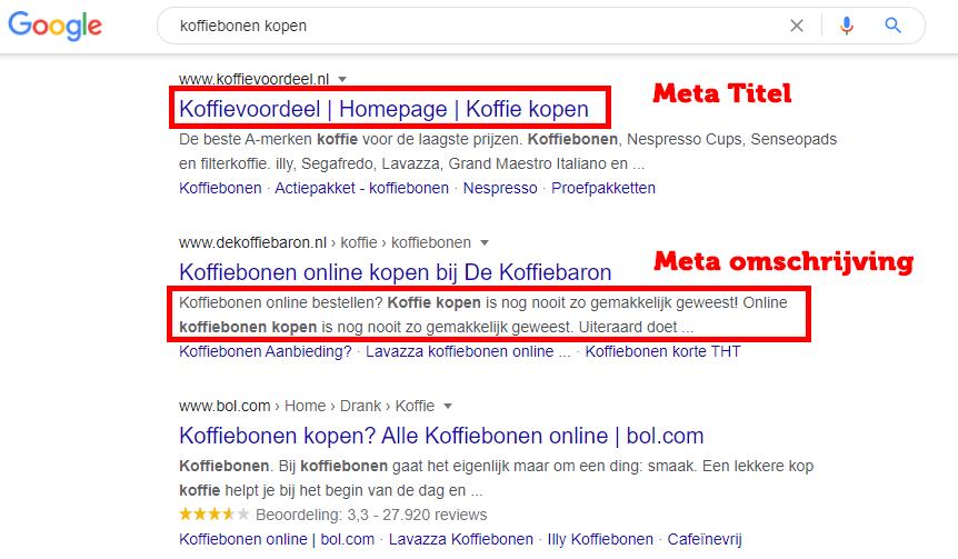 Meta titels en omschrijving Google