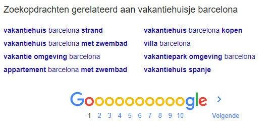 Gerelateerde zoekopdrachten Google