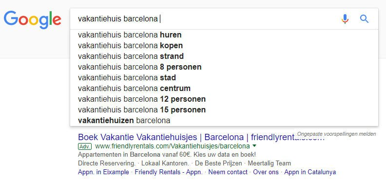 Google zoekwoord suggesties