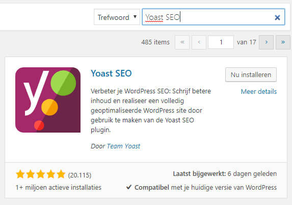 WordPress SEO Yoast installeren